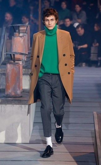How to wear: black leather loafers, charcoal vertical striped wool dress pants, green knit turtleneck, brown overcoat