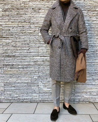 How to wear: black suede loafers, grey wool dress pants, dark brown turtleneck, brown houndstooth overcoat