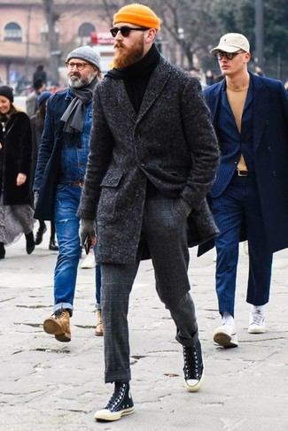 How to wear: black canvas high top sneakers, charcoal check wool dress pants, black turtleneck, charcoal overcoat