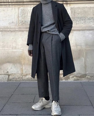How to wear: beige athletic shoes, charcoal wool dress pants, grey knit turtleneck, black overcoat