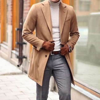 How to wear: dark brown woven leather belt, grey dress pants, beige turtleneck, camel overcoat