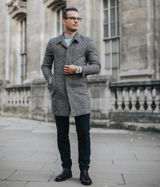 How to wear: black leather chelsea boots, black wool dress pants, grey turtleneck, grey overcoat