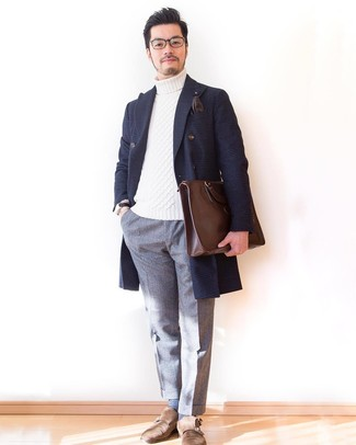 How to wear: brown suede double monks, grey wool dress pants, white knit turtleneck, navy plaid overcoat