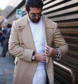 How to wear: black leather watch, white dress pants, white knit turtleneck, beige overcoat