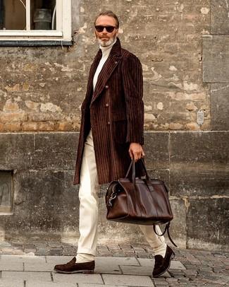 How to wear: dark brown suede loafers, white dress pants, white turtleneck, dark brown overcoat