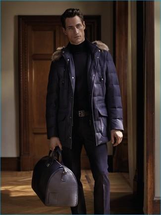 How to wear: black leather holdall, black dress pants, black turtleneck, navy parka