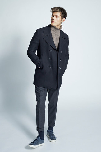 How to wear: navy leather low top sneakers, charcoal wool dress pants, brown knit turtleneck, black pea coat