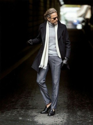 How to wear: black leather loafers, grey wool dress pants, grey turtleneck, black pea coat