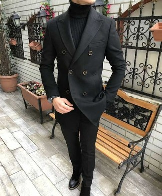 How to wear: black suede chelsea boots, black dress pants, black turtleneck, black pea coat