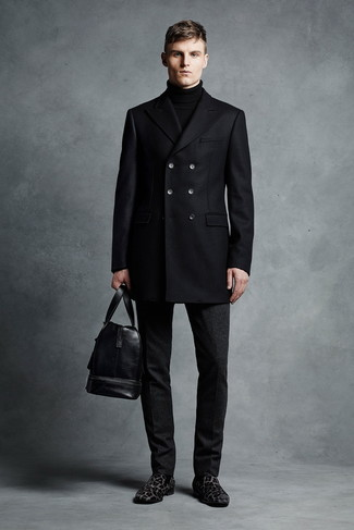 How to wear: black leopard suede loafers, black wool dress pants, black turtleneck, black pea coat
