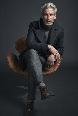 How to Wear Brown Leather Brogues: A black pea coat and grey dress pants are solid sartorial weapons in any gentleman's sartorial collection. Finishing with a pair of brown leather brogues is an effective way to inject a sense of stylish effortlessness into your getup.