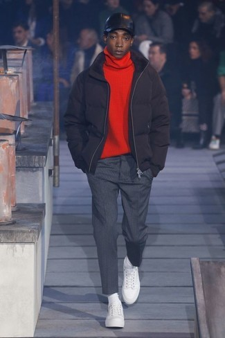 How to wear: white leather low top sneakers, charcoal vertical striped dress pants, red turtleneck, black puffer jacket