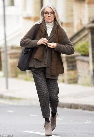 How to wear: brown suede ankle boots, dark brown wool dress pants, white turtleneck, dark brown shawl cardigan