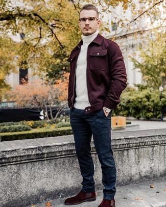How to wear: burgundy suede chelsea boots, navy wool dress pants, white knit wool turtleneck, burgundy wool shirt jacket
