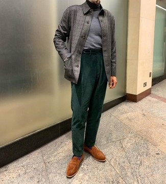 How to Wear Tobacco Suede Loafers For Men: This combination of a grey check shirt jacket and dark green corduroy dress pants comes in handy when you need to look seriously dapper and elegant. Complement this look with tobacco suede loafers and the whole outfit will come together wonderfully.