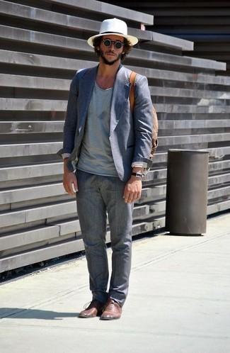 How to wear: brown leather oxford shoes, grey linen dress pants, light blue v-neck t-shirt, blue cotton blazer