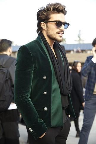 How to wear: black scarf, black dress pants, black v-neck t-shirt, dark green velvet blazer