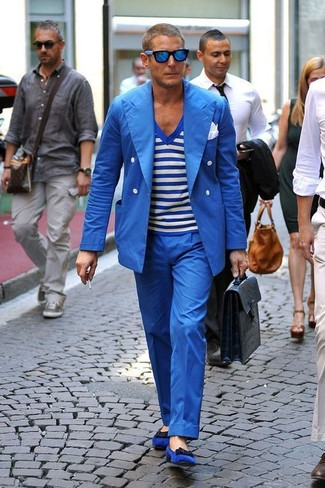 How to wear: blue suede loafers, blue dress pants, white and blue horizontal striped v-neck t-shirt, blue double breasted blazer