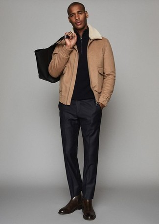 How to Wear a Tan Harrington Jacket: Loving how this combination of a tan harrington jacket and black dress pants instantly makes any guy look sophisticated and dapper. Dark brown leather chelsea boots serve as the glue that ties your ensemble together.