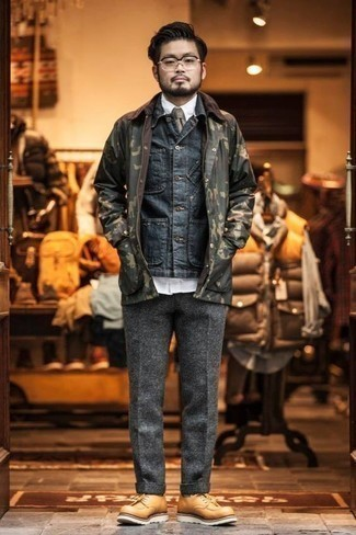 Men's Looks & Outfits: What To Wear In a Dressy Way: Pairing a navy denim shirt jacket and grey wool dress pants is a fail-safe way to inject a sophisticated touch into your wardrobe. For maximum style, introduce a pair of tan leather derby shoes to the mix.