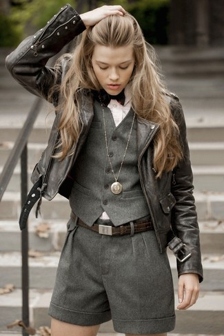 How to wear: charcoal wool shorts, pink vertical striped dress shirt, dark brown leather biker jacket, charcoal wool vest
