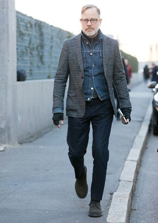 How to wear: navy vertical striped dress pants, black dress shirt, grey check wool blazer, blue denim jacket