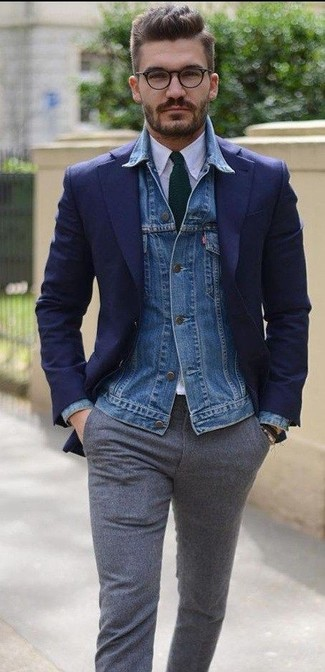 How to wear: grey wool dress pants, white dress shirt, navy blazer, blue denim jacket