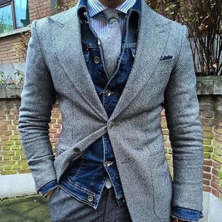 How to wear: grey wool dress pants, white and blue vertical striped dress shirt, grey wool blazer, navy denim jacket