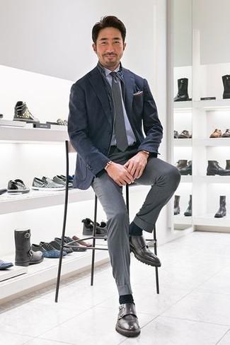How to wear: grey dress pants, light blue dress shirt, navy blazer, navy gilet