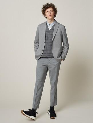 How to wear: grey dress pants, grey dress shirt, grey knit blazer, grey gilet