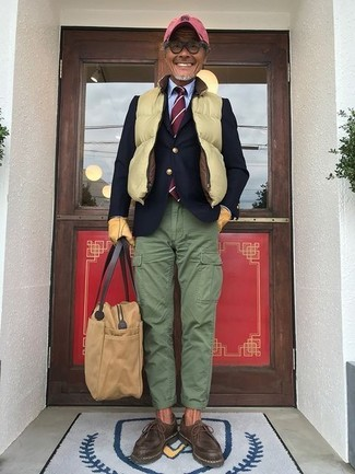 How to wear: green cargo pants, light blue dress shirt, navy wool blazer, yellow quilted gilet