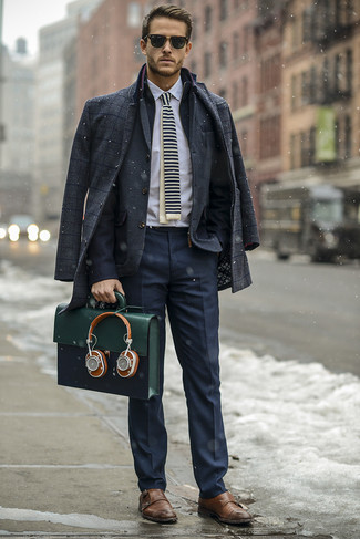 How to Wear an Olive Leather Briefcase: This off-duty combo of a charcoal plaid overcoat and an olive leather briefcase is a lifesaver when you need to look dapper but have zero time to dress up. Rounding off with brown leather double monks is an effortless way to give an extra touch of class to your ensemble.