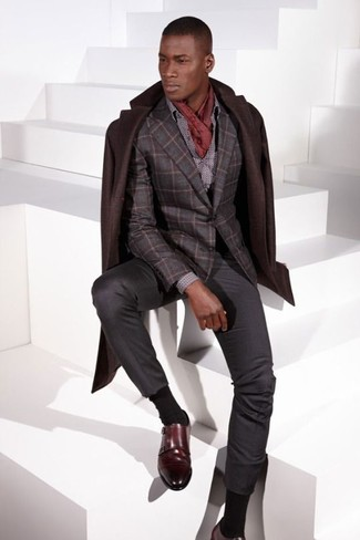 How to wear: charcoal dress pants, grey polka dot dress shirt, charcoal check wool blazer, dark brown overcoat