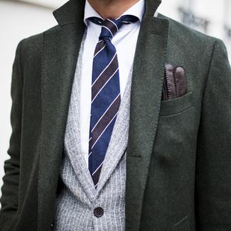 How to wear: navy horizontal striped tie, white dress shirt, grey vertical striped blazer, dark green overcoat