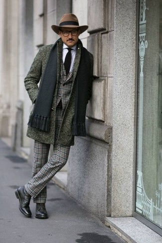 How to wear: dark green plaid dress pants, white dress shirt, dark green plaid blazer, olive overcoat