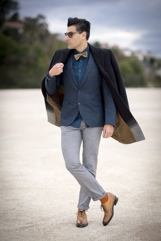 How to wear: grey wool dress pants, teal dress shirt, navy wool blazer, black overcoat