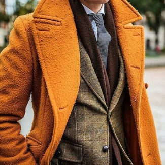 How to wear: black and white polka dot tie, light blue dress shirt, olive check wool blazer, orange overcoat