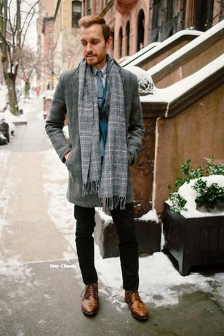 How to wear: black chinos, grey dress shirt, teal blazer, grey overcoat