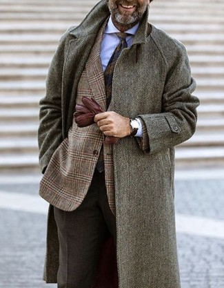 How to wear: dark brown wool dress pants, white dress shirt, brown plaid wool blazer, grey herringbone overcoat