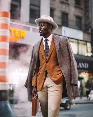 How to wear: beige dress pants, white dress shirt, tobacco check blazer, grey herringbone overcoat