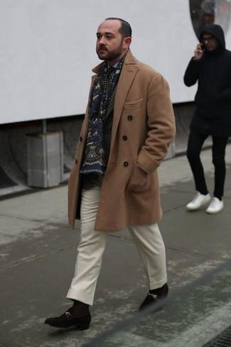 How to wear: white wool dress pants, light blue dress shirt, dark brown plaid blazer, camel overcoat