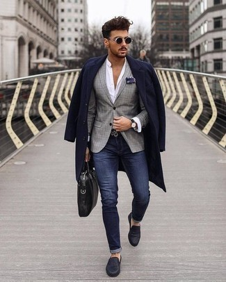 How to Wear a Black Leather Briefcase: A navy overcoat and a black leather briefcase are the kind of casual must-haves that you can style plenty of ways. In the footwear department, go for something on the classier end of the spectrum by slipping into a pair of navy leather loafers.