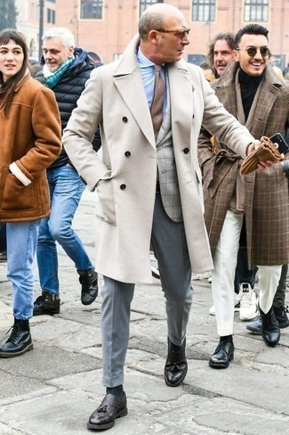 How to Wear Light Blue Dress Pants For Men: This pairing of a white overcoat and light blue dress pants will add manly essence to your outfit. And if you want to easily dial down your ensemble with a pair of shoes, why not complement this outfit with a pair of black leather tassel loafers?