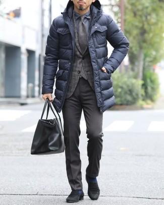 How to wear: dark brown dress pants, navy dress shirt, dark brown plaid blazer, black puffer coat