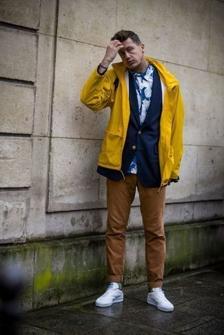 How to wear: brown chinos, blue floral dress shirt, navy blazer, yellow raincoat