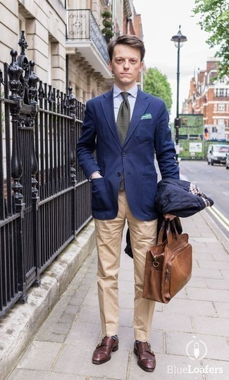 How to Wear Navy Horizontal Striped Socks For Men: This combination of a navy quilted shirt jacket and navy horizontal striped socks is street style cool meets effortless comfort. Go ahead and complement this look with a pair of burgundy leather double monks for an added dose of sophistication.