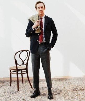 How to Wear Charcoal Socks For Men: An olive shirt jacket and charcoal socks are a cool ensemble to have in your daily routine. A pair of black leather derby shoes will bring an elegant aesthetic to the ensemble.