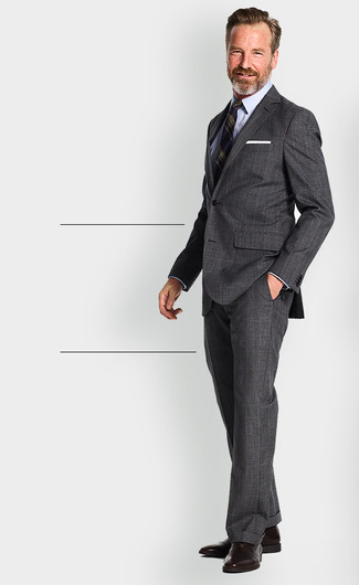 How to wear: dark brown leather oxford shoes, light blue dress shirt, navy vertical striped blazer, charcoal plaid suit