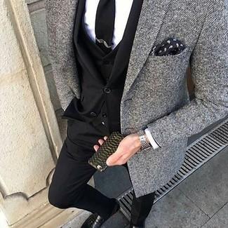 How to wear: black leather tassel loafers, white dress shirt, grey tweed blazer, black three piece suit