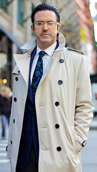 How to wear: dark brown wool dress pants, white dress shirt, navy check blazer, beige trenchcoat